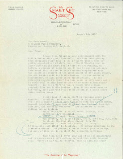 A typed letter addressing Ezra Pound.