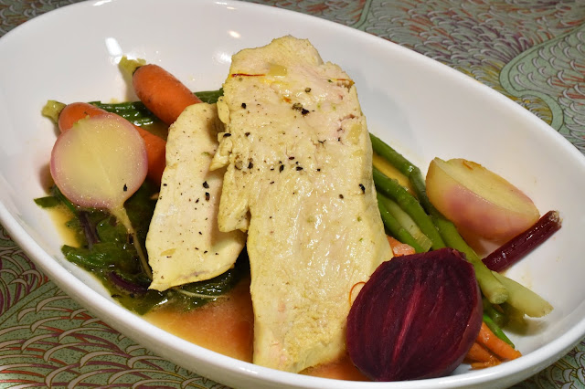 Château de Mercuès Chicken in Saffron Broth with Vegetables.