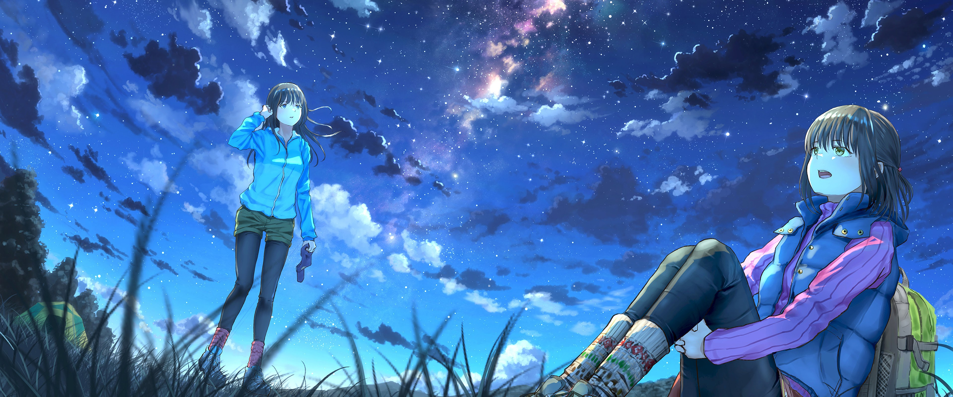 Anime Girls Night Sky Scenery Clouds Stars 4k Wallpaper 64