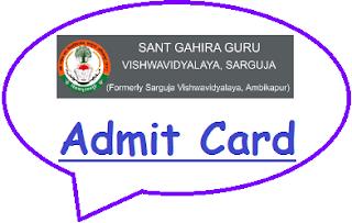Sarguja University Admit Card 2019