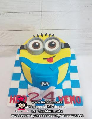 Minion Fondant 2d Birthday Cake