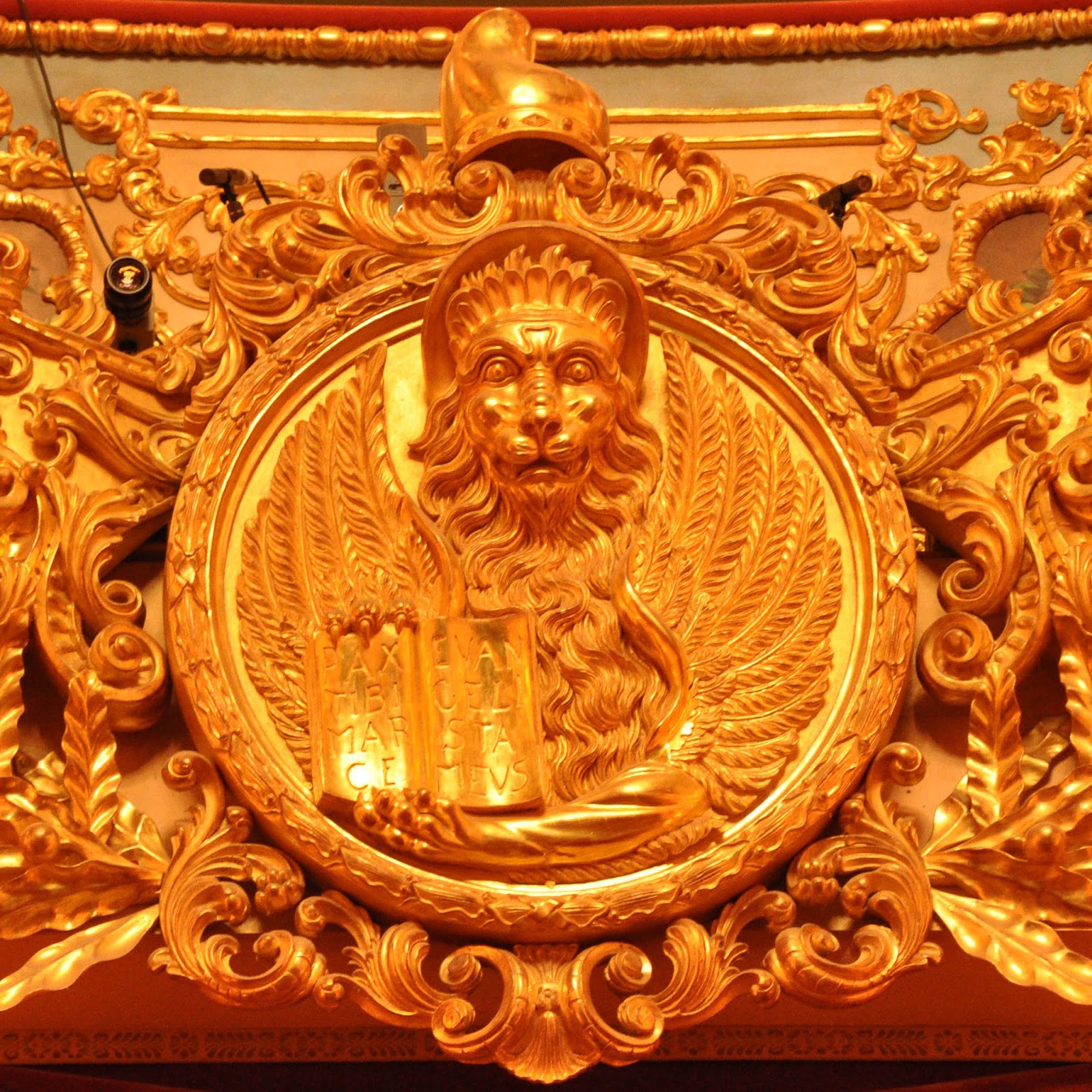 The lion above the Imperial box, La Fenice, Venice, Italy