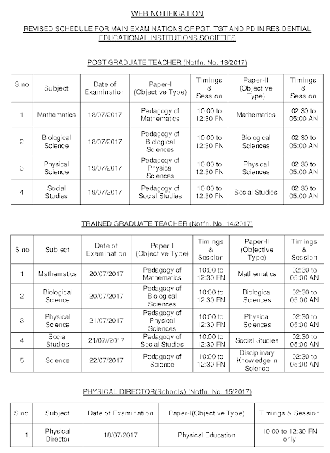 Revised Schedule for MAIN Examination of PGT, TGT and PD in Residentiao Educational Institutions Societies
