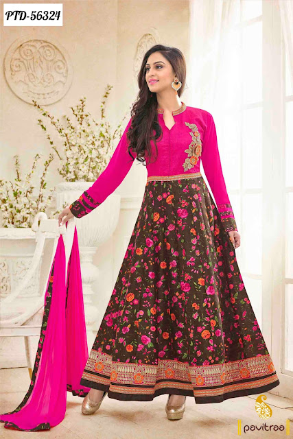 dark pink bhagalpuri frock style  anarkali dress in Tv actress Jivika fashion online shopping at pavitraa.in