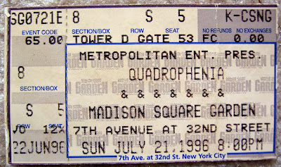 The WHO Quadrophenia Tour ticket stub July 21, 1996 at Madison Square Garden
