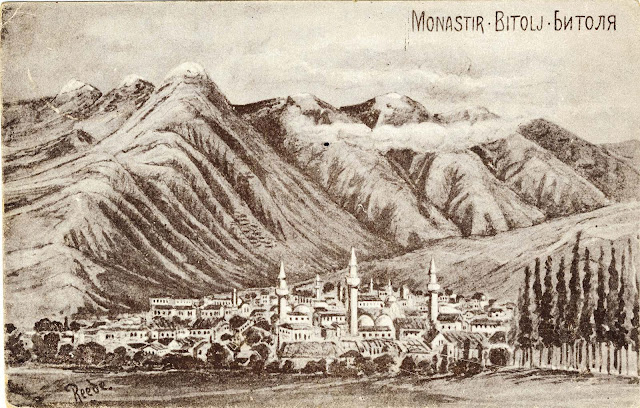 Drawing of Bitola, postcard issued by Felix Grosser from Dresden Germany.