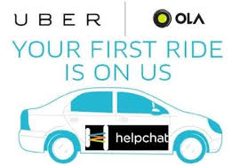 Helpchat 100% cashback offers on ola and uber cab