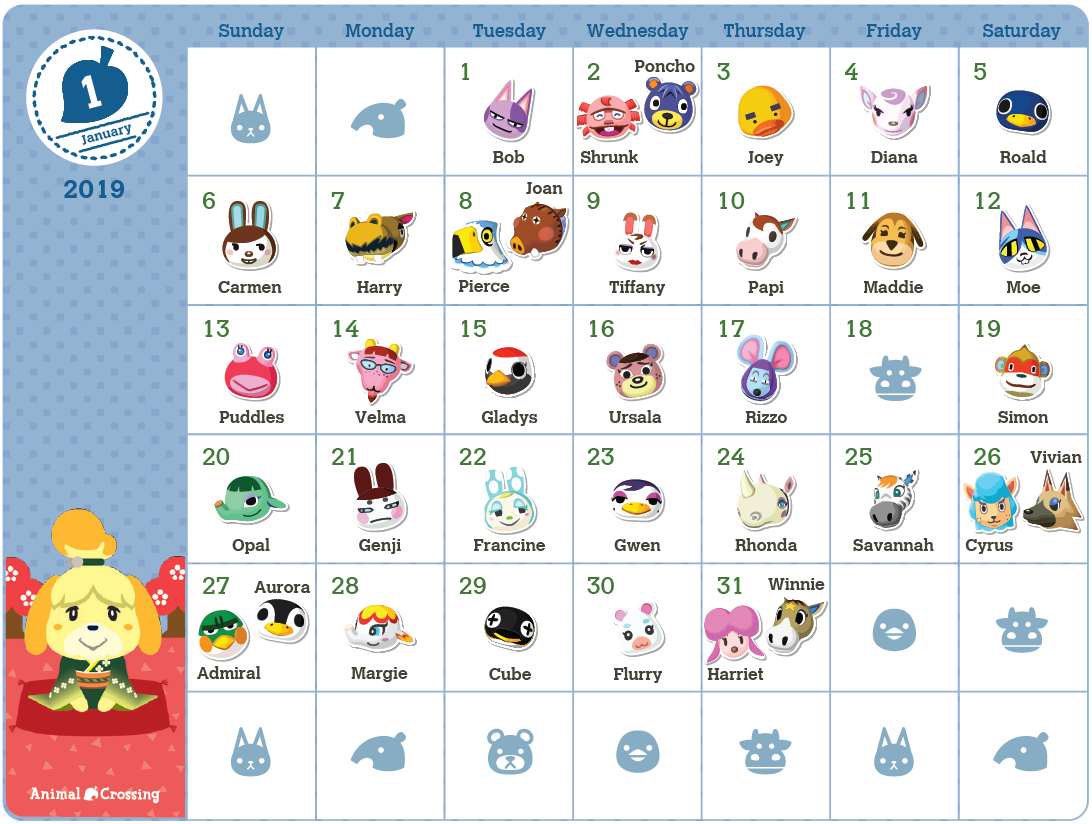 My Nintendo Adds Exclusive Animal Crossing 2019 Birthday Calendar