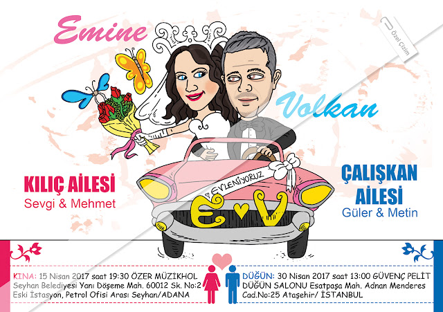 karikatür, düğün davetiyesi, düğün davetiyesi çizimi, karikatürlü davetiye, komik davetiye, gelin damat, eğlenceli davetiye, karikatür portre, Özel Çizim, evleniyoruz, evlilik