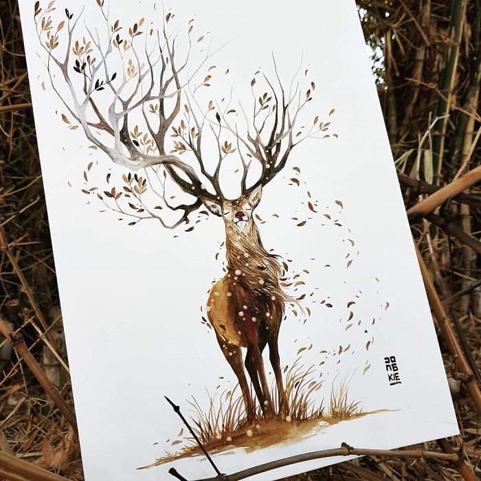 13-The-Stag-Jongkie-art-Luqman-Reza-Mulyono-Vibrant-Fantasy-Watercolor-Animal-Paintings-www-designstack-co