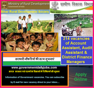 Account Assistant, Audit Assistant & District Finance Manager Recruitment 2016