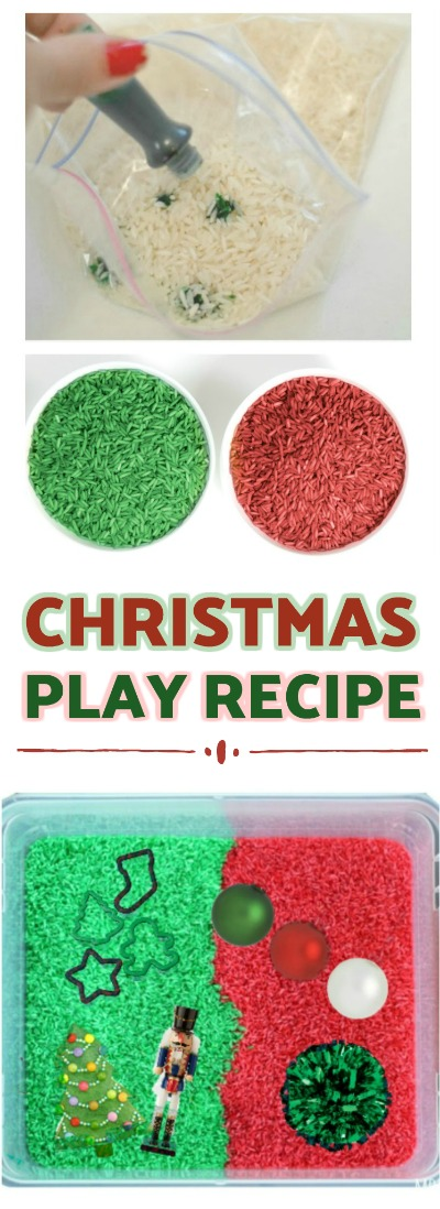FUN KID PROJECT: Make Christmas Rice!  Less messy than play sand & it smells just like Christmas! #christmasplayrecipes #christmascraftsforkids #Christmasactivitiesforkids