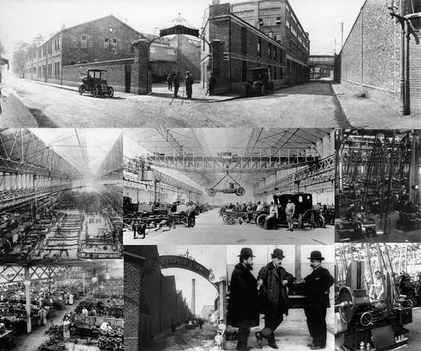 Mosaïque avec des photos de Renault à Boulogne d'époque