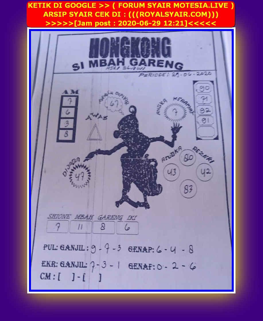 Kode syair Hongkong Senin 29 Juni 2020 85
