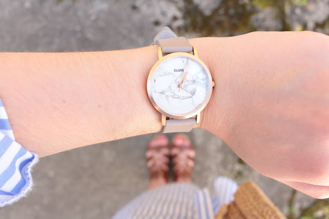 montre cluse rose gold et marbre