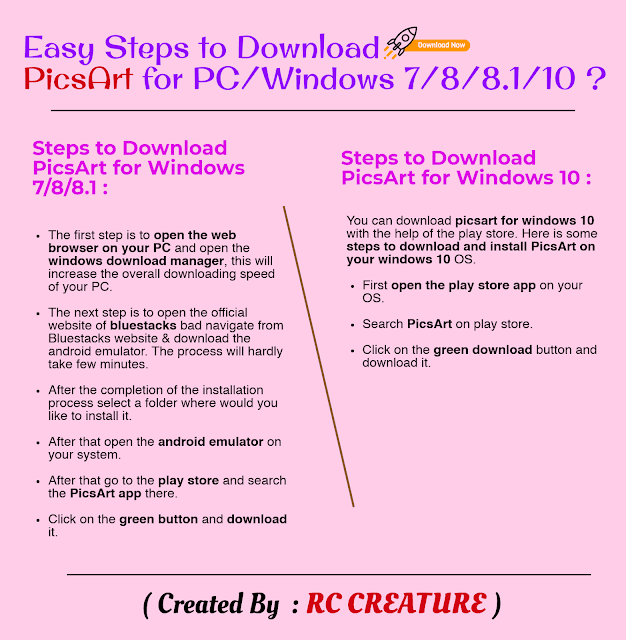 Easy Steps to Download PicsArt for PC/Windows 7/8/8.1/10 (2019)
