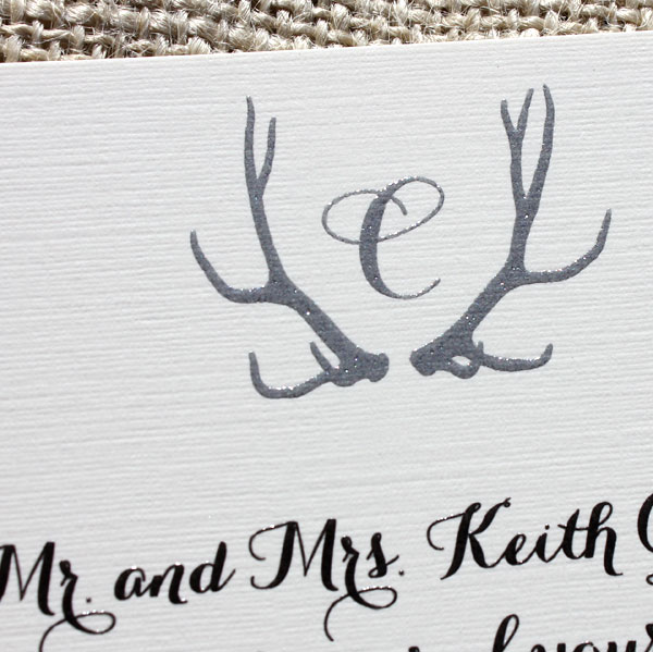 Blush Paperie: Monogram Antler Wedding Invitations