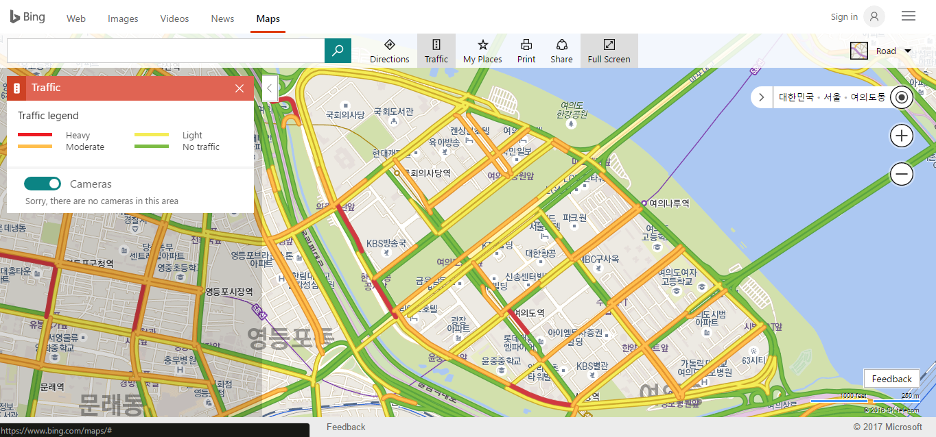 bing maps real time traffic in yeouido on 2017 2 13 1800 image bing