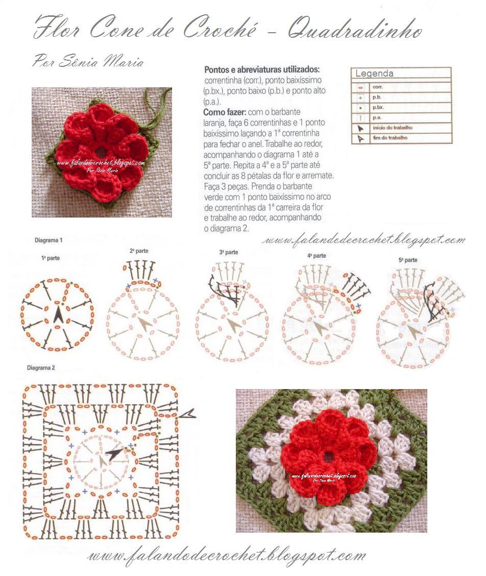 Patron Crochet Flor Petalos en Relieve