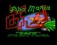 Captura del pantalla con el inicio de Pipe Mania en Commodore Amiga, 1989