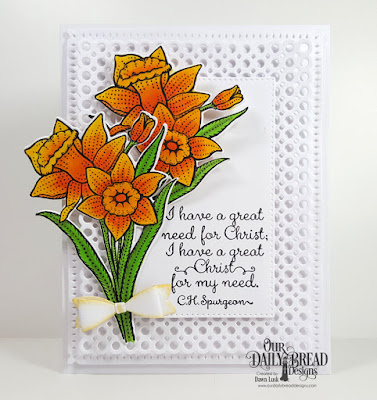 Our Daily Bread Designs Stamp Set: Daffodils, Custom Dies: Daffodil, Circle Scalloped Rectangles, Mini Bow, Pierced Rectangles, Snowflake Sky