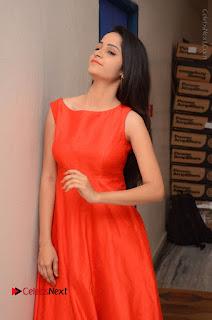 Telugu Actress Divya Nandini Stills in Orange Sleeveless Gown at Chennai Chaitrama Movie le Launch Event  0118.JPG