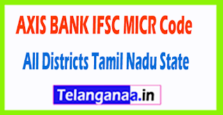 AXIS BANK IFSC MICR Code All Districts Tamil Nadu State