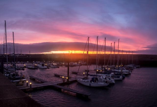 Photo of Sunday's sunset over Maryport Marina
