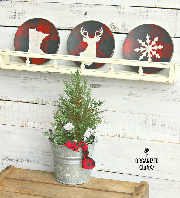 Thrift Shop Wooden Salad Plates to Christmas/Winter Decor organizedclutter.net