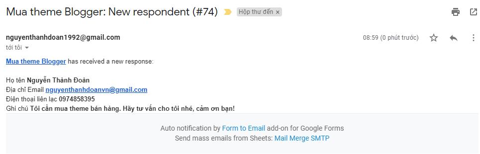 Thiết lập nhận thông báo từ Google Form bằng nhiều cách