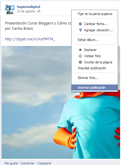 Inserta un post de Facebook en sitios web o blogs.
