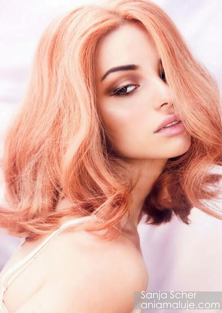 rude włosy bob lob ginger hair pastel