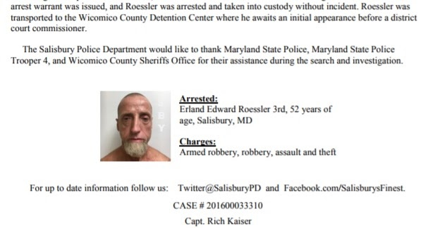 Salisbury News: SPD Press Release 7-29-17 (Bank Robbery Arrest)