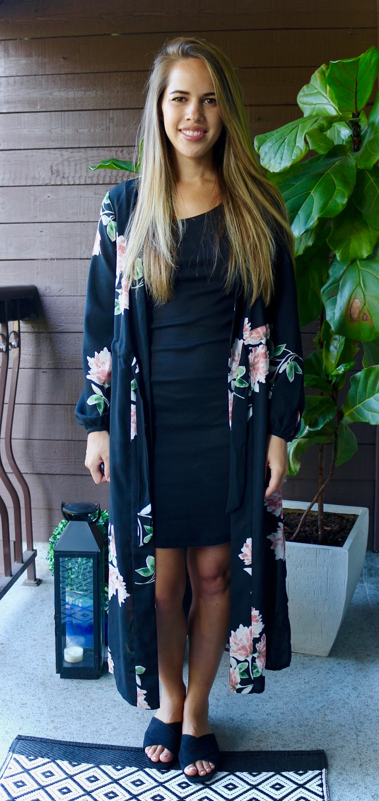 Jules in Flats - Black Dress with Kimono