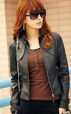 Jaket Kulit Wanita Model Korea