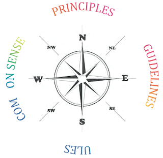 Principles, guidelines, (r)ules, com(m)on sense