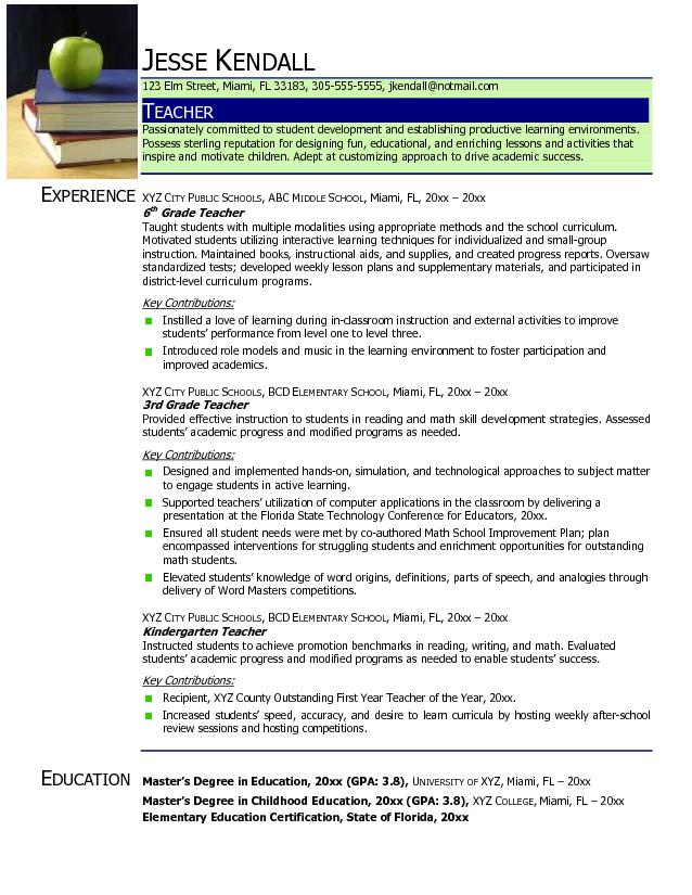 Preschool Teacher Resume Template | Resume Format Download Pdf