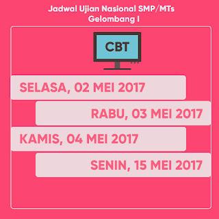 JADWAL UJIAN NASIONAL (UN) SMP/MTs 2017  GELOMBANG I