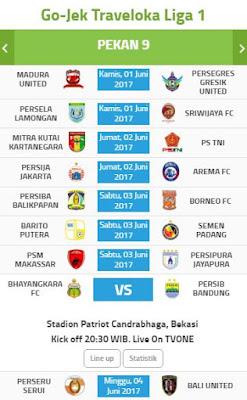 Jadwal Gojek Traveloka Liga 1 Pekan Kesembilan 1-4 Juni 2017