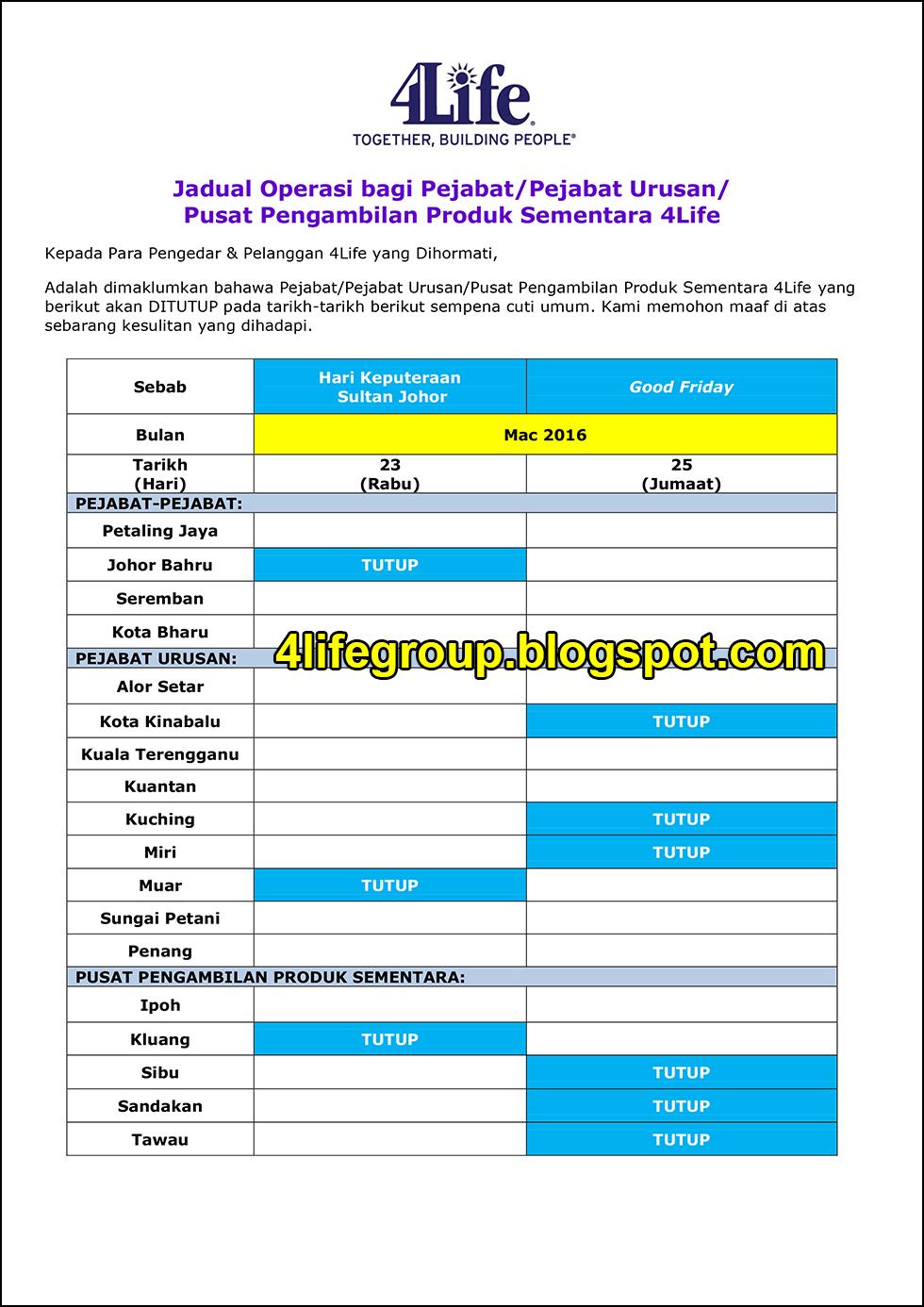 foto Jadual Operasi Bulanan Mac 2016 4Life Malaysia