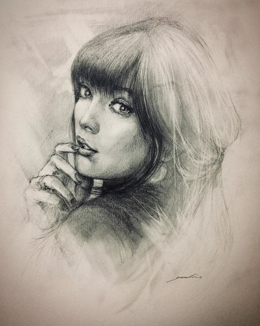 06-@moongoddi-Yoshi-Portrait-Drawings-of-People-on-Instagram-www-designstack-co