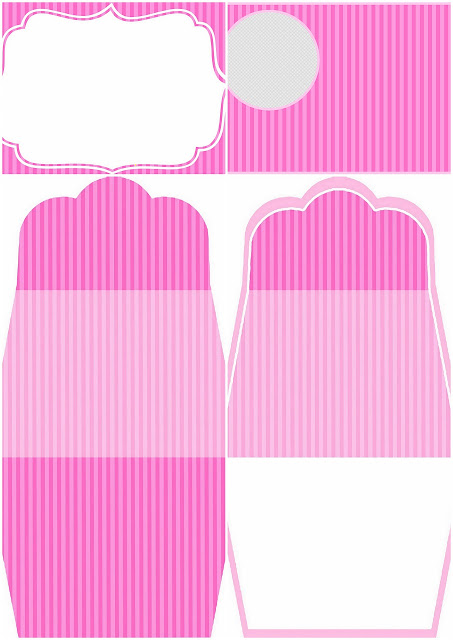 Pink Stripes: Free Printable Invitations.