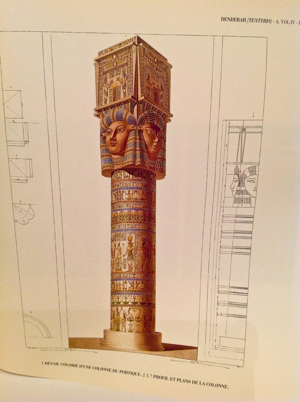 Columna Hathorica del Templo de Dendera según la Description de l'Egypte