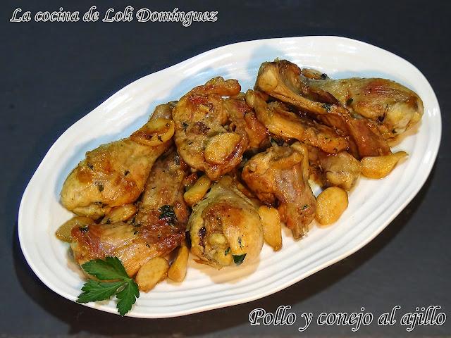 Pollo y conejo al ajillo (Receta tradicional)