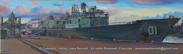 oil painting  of ex-HMAS Adelaide at Glebe Island wharf by artist Jane Bennett