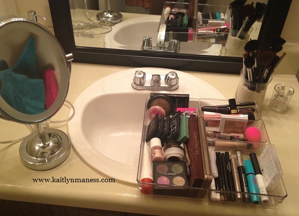 makeup in bathroom