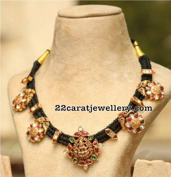 Black Thread Necklace with Lakshmi Kasu