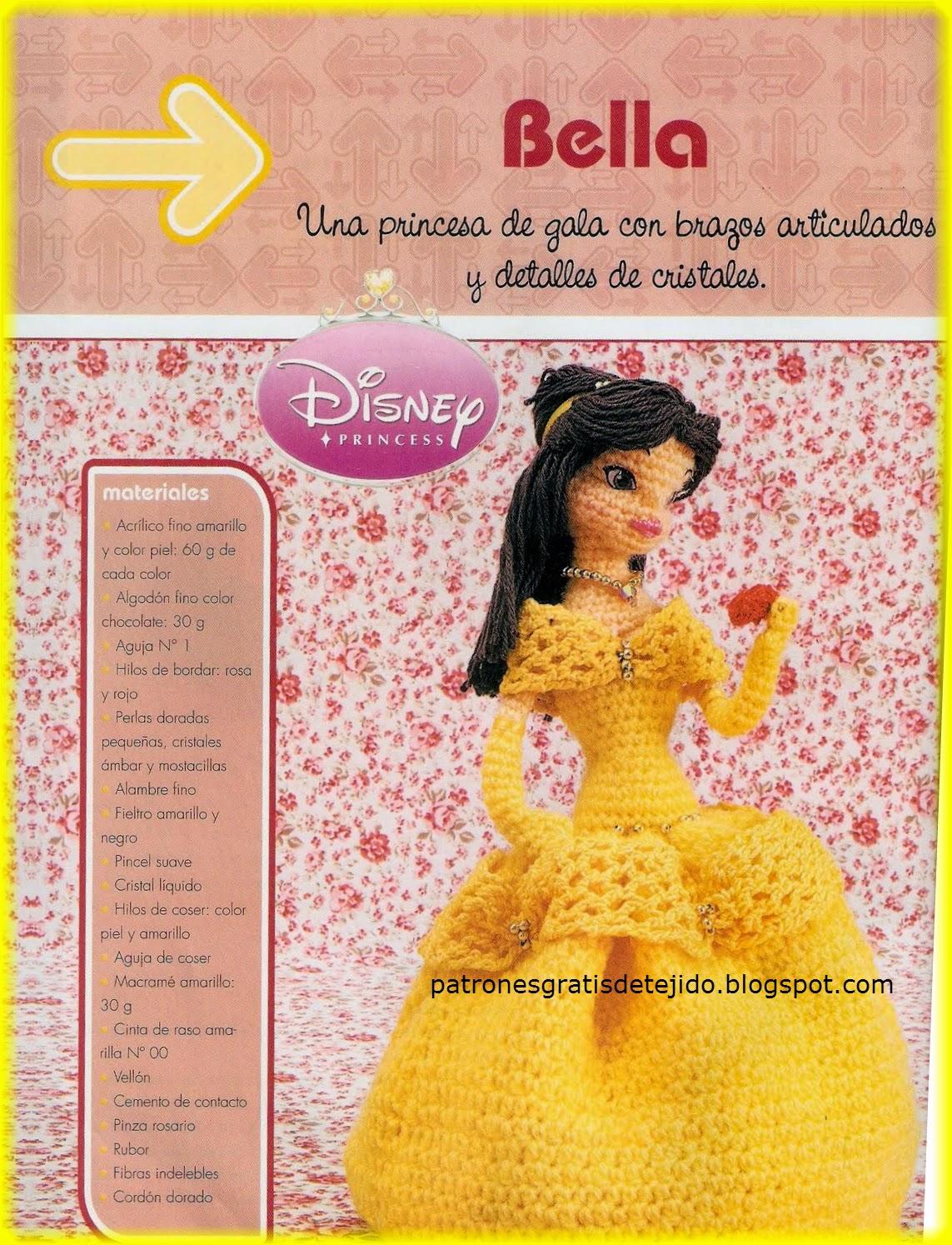Amigurumi  La Princesa Bella de Disney al crochet  e8eb17003a2