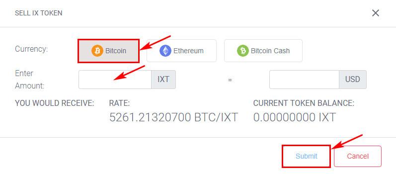 Обмен токенов в IX Wallet 2