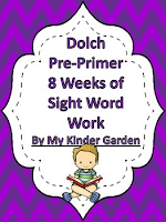 Dolch PrePrimer 8 Weeks of Sight Word Work